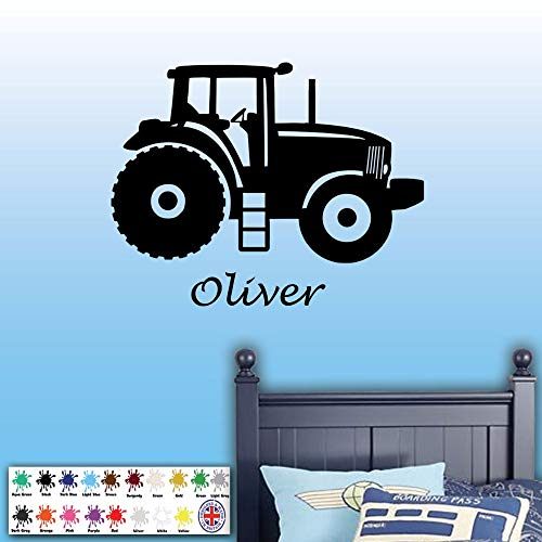 WWYJN Colors Art Vinyl Wall Sticker Tractor Custom Name Removeable Wall Decal Bedroom Wall Decor for Kids Art Poster52x43CM - Ge Security Wand