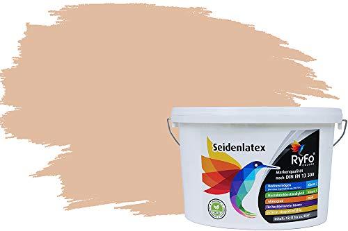 RyFo Colors Seidenlatex Trend Orangetöne Sand 12,5l - bunte Innenfarbe, weitere Orange Farbtöne und Größen erhältlich, Deckkraft Klasse 1