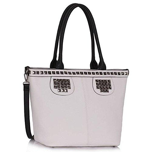 TrendStar Frauen-Handtaschen -Dame-Schulter Schnappen Tote Designer Taschen Kunstleder Weiß