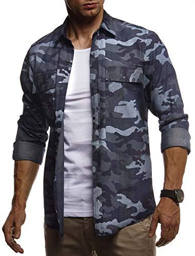 LEIF NELSON Herren Hemd Freizeithemd T-Shirt Langarm 100% Baumwolle   Männer Langarmshirt Oversize Jeanshemd   Jungen Basic Shirt Kurzarmshirt Camouflage Sommerhemd   LN3850 Blau X-Large Camouflage-fliege
