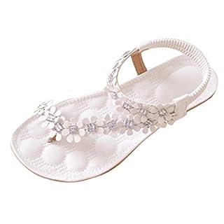 Amlaiworld Frauen 2016 Sommer Böhmen Blume Perlen Flipflop Schuhe Flache Sandaletten (39, Weiß)