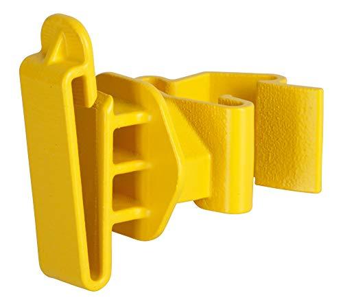 AKO 25x T-Pfosten Weidezaunband Clip Isolator, gelb - Verbessertes Clip System - Einfaches Anklippen am T-Post - Für Weidezaunband bis 50mm