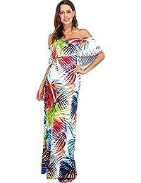 YEBIRAL Damen Heißer Exquisite Bootshals Raffung Bunte Lange Kleider Sexy  Abendkleider Strandmode Druck Kleider Karneval 468ddd87fb
