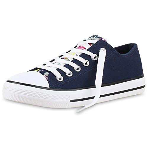Bequeme Unisex Sneakers | Low-Cut Modell | Basic Freizeit Schuhe | Viele Farben | Gr. 36-45 Dunkelblau Navy Blu