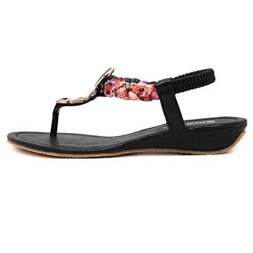 COOLCEPT Damen Mode-Event Knochelriemchen Flops Niedrig Keilabsatz Slingback Flip Flops Schuhe Schwarz