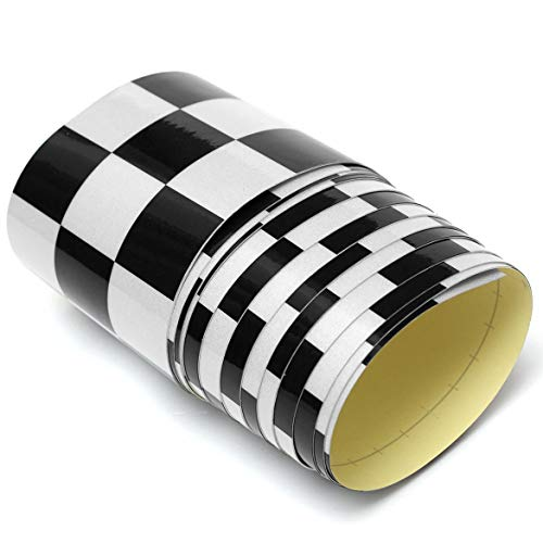 Price comparison product image 7.6x275cm Vinyl Decal Tape Black&White Checkered Vehicle Sticker Fashion Vinyl Wrap For Car Bike Motorcycle Truck