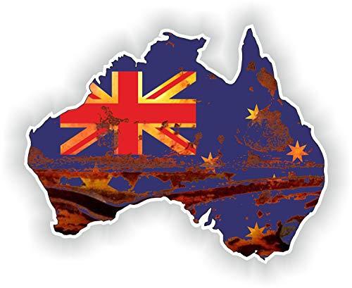 Tiukiu Vintage Australien Rost Map Flag Old Look Silhouette Aufkleber für Laptop Buch Kühlschrank Gitarre Motorrad Helm Werkzeugkasten Tür PC Boot
