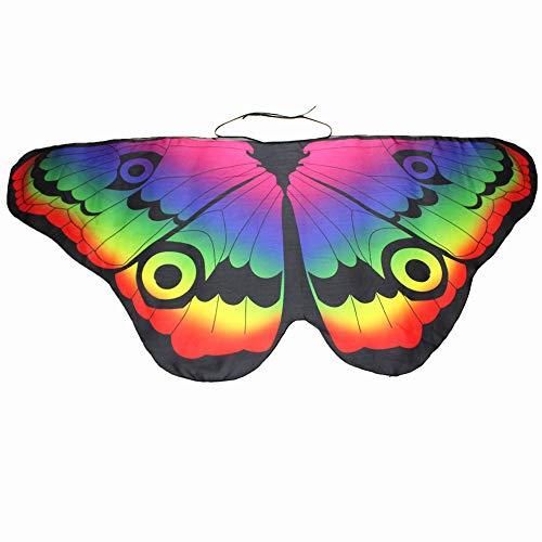 WOZOW Kind Schmetterling Flügel Kostüm Nymphe Pixie Umhang Faschingkostüme Schals Poncho Kostümzubehör Zubehör (Mehrfarbig 4) (80er Affe Kostüm)