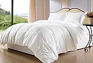 Hotel Comforter 4 Pcs Set By Valentini, King Size, Plain Squares D1, White, Microfiber