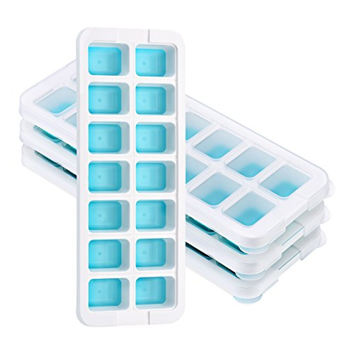 【Neues Design Deckel】4 Stücke TOPELEK Eiswürfelform, Einfache Entfernung der Eiswürfelformen, 14 Eiswürfel, Halten Sie das Getränk kühl, LFGB zertifiziert, lebensmittelechtes Material