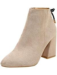 Logobeing Botas de Mujer con Punta de Cabeza Gruesa Botines de Martin Botas  con Tobillo Clásica Moda Zapatos… be2f52eaf71f
