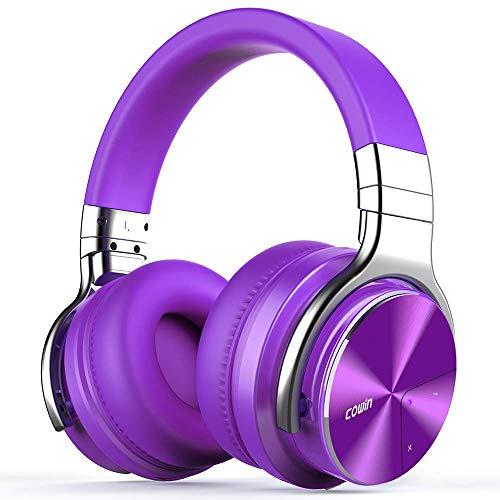 Cowin E7 PRO Active Noise Cancelling Bluetooth Kopfhörer mit Mikrofon Hi-Fi Deep Bass Wireless Kopfhörer über Ohr 30H Spielzeit für Reisen Arbeit TV Computer Telefon(Violett)