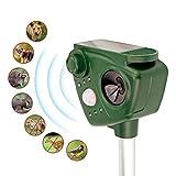 YuDy Ultraschall Abwehr mit Solarbetrieb und Blitz gegen Katzen, Hunde, Marder, Tierabwehr | Katzenschreck,Hundeschreck, Marderschreck, 5 Modus einstellbar