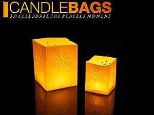 12 X Candle Bags Micro Sacchetti Porta Candela da Tavolo Fireworks Bianche