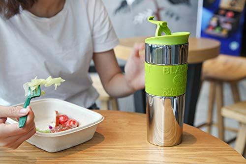 Fakdr Kaffeetasse Wiederverwendbare Tasse, Spiegelflasche, 304 Edelstahl Büro Schulcafé, in Mehreren Farben Erhältlich (213Mm * 62Mm),Green (Milch Flaschenverschlüsse Glas)