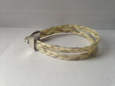 Bracelet en crins de cheval véritable double tresse fermoir plat type montre