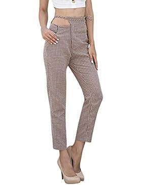 beautyjourney Pantalones de rejilla de mujer, Elegantes pantalones casuales Pantalones cortos con pantalón de...