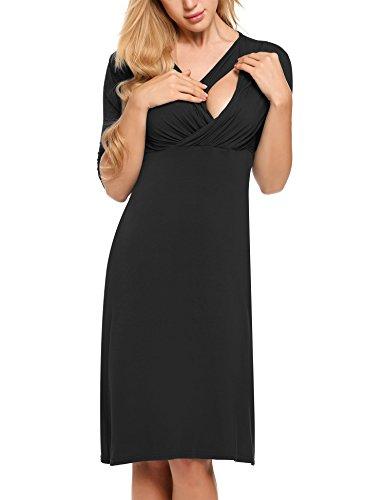 HOTOUCH Damen Maternity Umstandskleid Mutterschafts Kleid Stillkleid Schwangerschafts Kleid Halb Ärmel Schwarz XXL (Jersey Mutterschaft Mutterschaft)