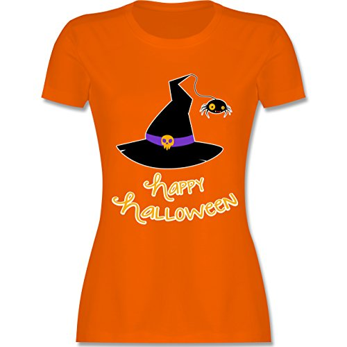 Halloween - Hexenhut Happy Halloween - XL - Orange - L191 - Damen T-Shirt (Beliebte Kostüme Frauen Halloween)