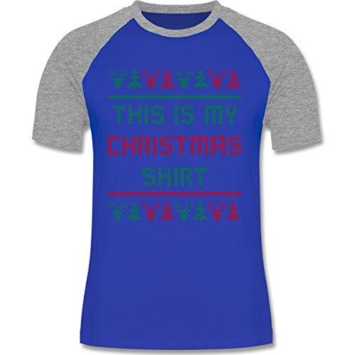 Weihnachten & Silvester - This is my Christmas Shirt - zweifarbiges Baseballshirt für Männer Royalblau/Grau meliert