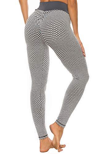 FITTOO Leggings Mallas Mujer Pantalones Deportivos Yoga Alta Cintura Elásticos y Transpirables Gris Chica