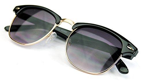 50er Jahre Retro Sonnenbrille Halbrahmen Clubmaster Style schwarz gold Rockabilly (Retro Outfits 60er 70er Jahre)