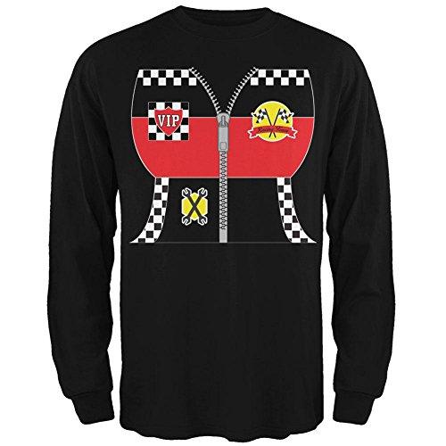 Halloween-Hot Rod Kostüm Racing Mens Long Sleeve T Shirt Schwarz MD (Racing Kostüm Für Männer)