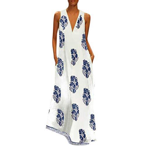 Zegeey Damen Kleid Retro ÄRmellos V-Ausschnitt BöHmen Blumen Drucken Sommer Maxikleid Sommerkleider Strandkleider Blusenkleid (D3-Blau,EU-36/CN-M) (Kostüm Frau Arzt)