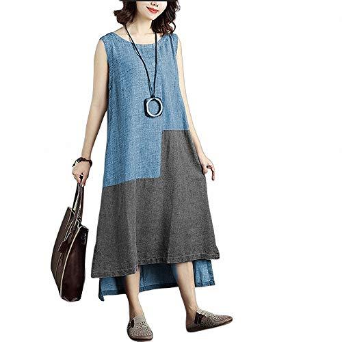 FeiXing158 2019 Sommer Frauen Sleeveless Elegantes Kleid Patchwork Casual Robe Femme unregelmäßige Party Kleider Plus größe 5XL (Mouse-mini-cutter Mickey)