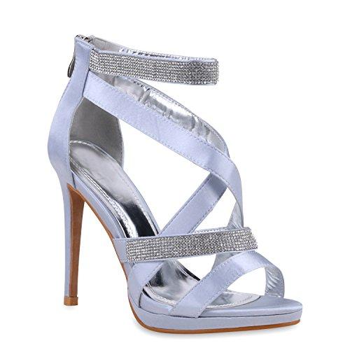 Damen Sandaletten Strass High Heels Party Schuhe Metallic Glitze Brautschuhe Abschlussball Hochzeit Hellgrau Steinchen