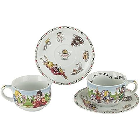 Cardew Alice in Wonderland Tea Party 8oz redonda taza de té y platillo Set de 2