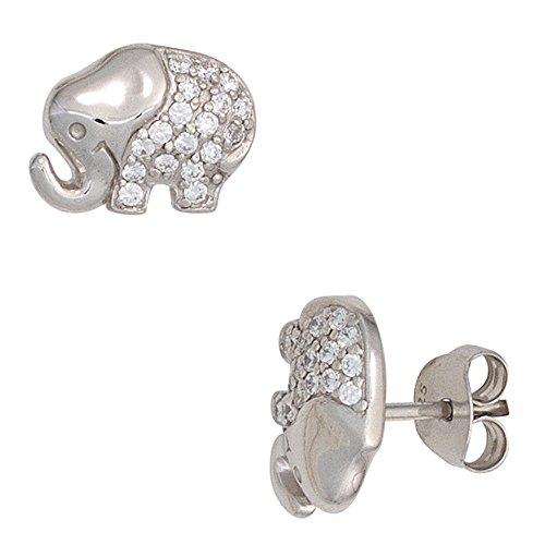 Jobo Niños pendientes de plata de ley rodiada con circonitas Elefant{925} pendientes