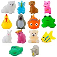 WISHKEY Baby Bath Toy Set of 14 Pcs Chu Chu Colorful Animal Shape Toy (Multicolor)