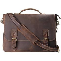 Kattee Leather Laptop Messenger Briefcase Crossover Mens Shoulder Bag - Brown