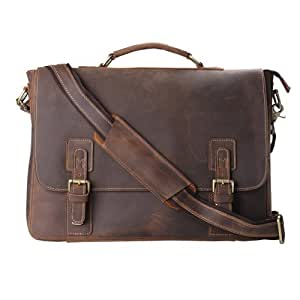 Baigio Mens Leather Laptop Briefcase