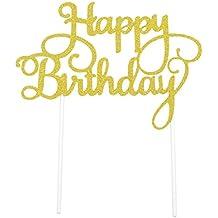 PuTwo - Letrero de Happy Birthday para decoración de Tartas de cumpleaños, ...