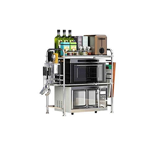 WYY Regal, 2-Tier Ofen Mikrowelle Regal, Edelstahl Küchenutensil Lagerregal Küchentheke und Schrank Regal HPLL (größe : 63x37x71cm)