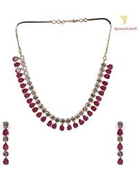 Ratnavali Jewels American Diamond CZ Gold Plated Red Ruby Designer Jewellery Set For Girls/Women (RV2097R)