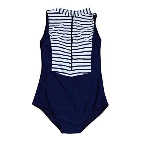 XuxMim Frauen-Sommer-Streifen-Reißverschluss-reizvolle Badebekleidung Beachwear-siamesischer Badeanzug-Bikini