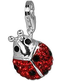 SilberDream scintillement bijoux - Charm Coccinelle - Femme - Argent 925/1000 - Cristaux Swarovski rouge shiny - scintillement Charms - GSC207