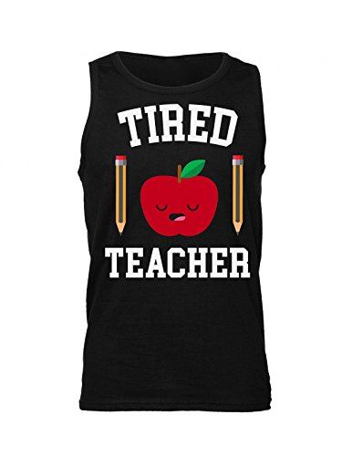 Finest Prints Tired Teacher Sleepy Apple With Pencils Men's Tank Top Shirt