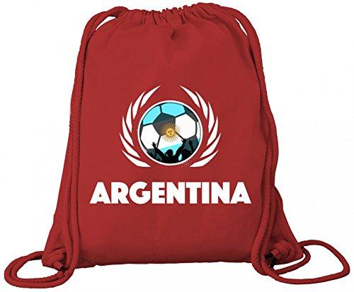 Argentinia World Cup Fussball WM Bio Baumwoll Turnbeutel Rucksack Gym Bag Fußball Argentinien Red