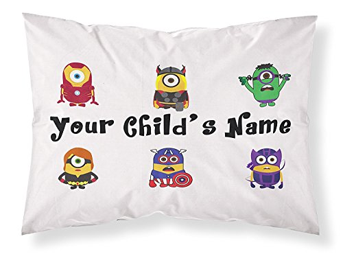 Minions Themed Pillowcase, Featuring Ironman, Thor,The Incredible Hulk, Black Widow, Captain America and Hawkeye. Personalized with Your Child's Name for Boys of All Ages! ()