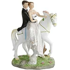Hochzeitspaar brautpaar auf pferd tisch deko torten for Deko amazon
