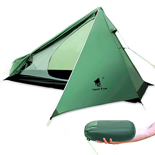 GEERTOP 1 Person 3-Saison Campingzelt Ultraleichte Rucksackreisen Zelt für Camping Wandern Klettern,Trekking (Pole Nicht enthalten)