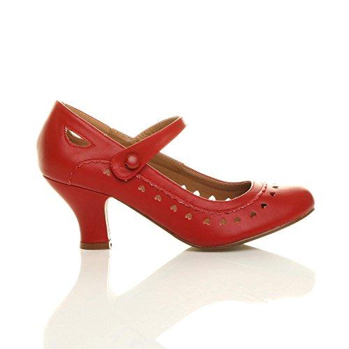 Herzmuster Mary Jane mittlerer Absatz Feinmachen Pumps Schuhe - 2