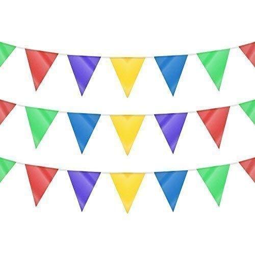 120m de doble cara multicolor triángulo bandera banderín Decoración de banderines para...
