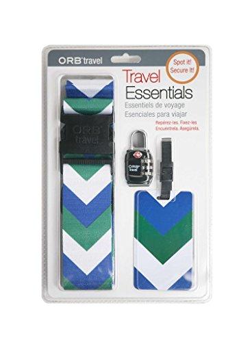 ORB Travel-TE124-Essentials- Kits beinhaltet 1 Kofferband , 1 Metall Vorhängeschloss & 1 Gepäckanhänger - Lock Luggage Strap