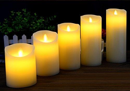 5Juego de velas LED de cera sin llama velas, funciona con pilas de luces