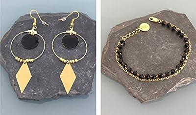 Parure bracelet doré et créoles en acier inoxydable, parure bijoux, boucles d'oreilles, créoles, bracelet, cadeau Femme